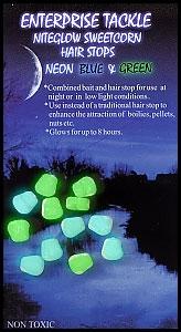 Стопор для насадок Enterprise Tackle SweetCorn Hair Stop Mini NITEGLOW BLUE & GREEN MIXED