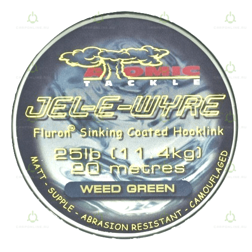 Поводковый материал в оплетке Atomic Tackle Jel-E-Wyre 25lb Green 20 м.