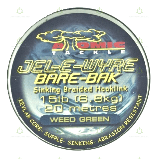 Мягкий поводковый материал Atomic Tackle Jel-E-Wyre Bare Bak 15lb Green