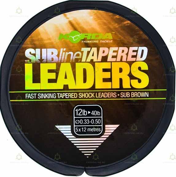 Лидер конический Korda Subline Tapered Leader Brown 0.33-0.50мм 5x12м