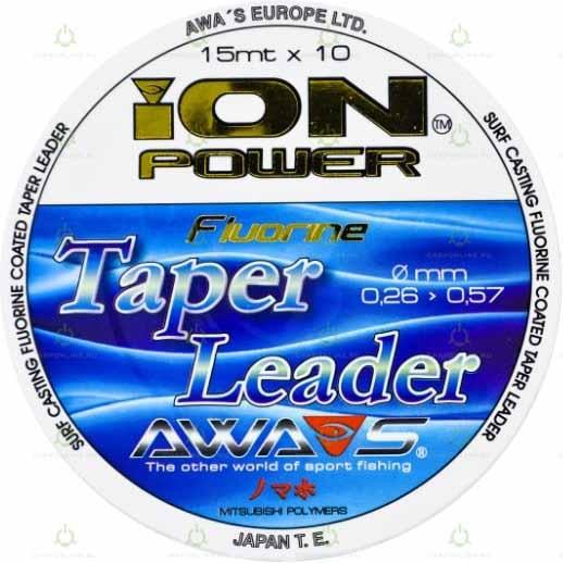 Шок-лидер моно конусный Awa-Shima ION POWER FLUORINE TAPER LEADERS 0,26-0,57 мм. 15 м. 10 шт.