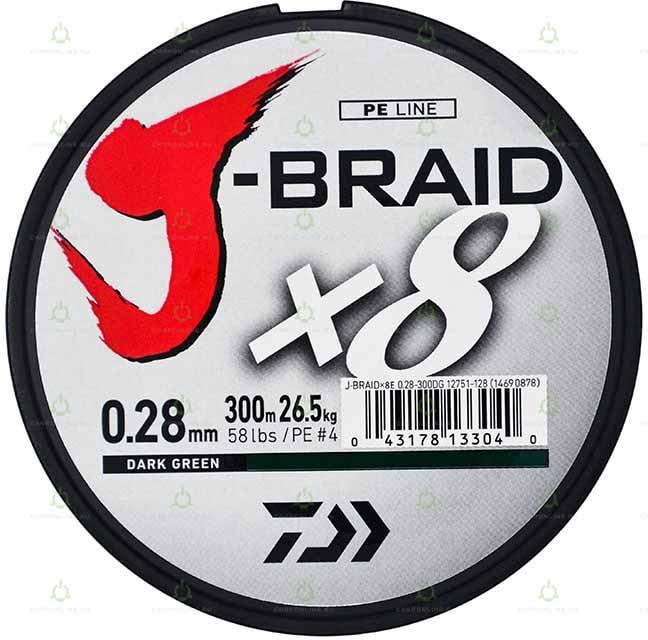 "Леска плетеная DAIWA ""J-Braid X8"" 0,28мм 300м (зеленая)"