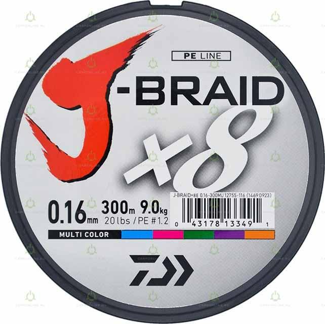 """Леска плетеная DAIWA """"J-Braid X8"""" 0,16 мм. 300 м. (мультиколор)"""