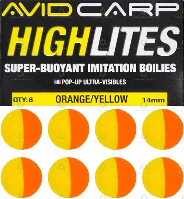 Набор поролоновых шариков Avid Carp High Lites 14mm Yellow/Orange