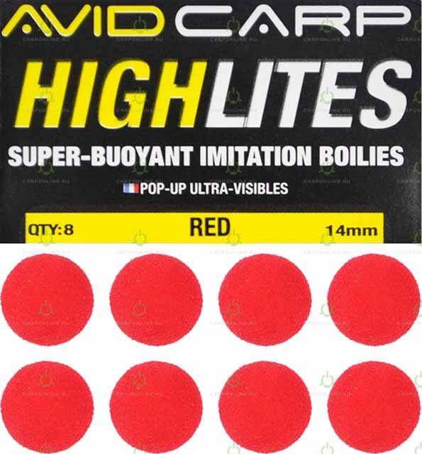 Набор поролоновых шариков Avid Carp High Lites 14mm Red