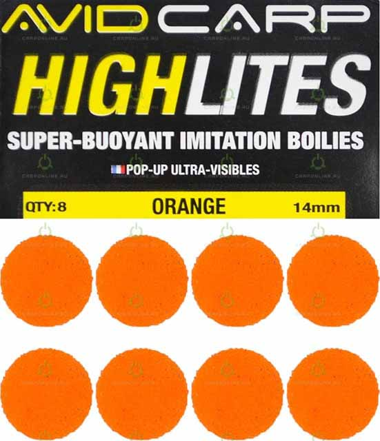 Набор поролоновых шариков Avid Carp High Lites 14mm Orange