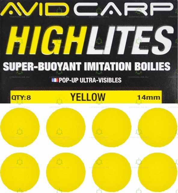 Набор поролоновых шариков Avid Carp High Lites 14mm Yellow