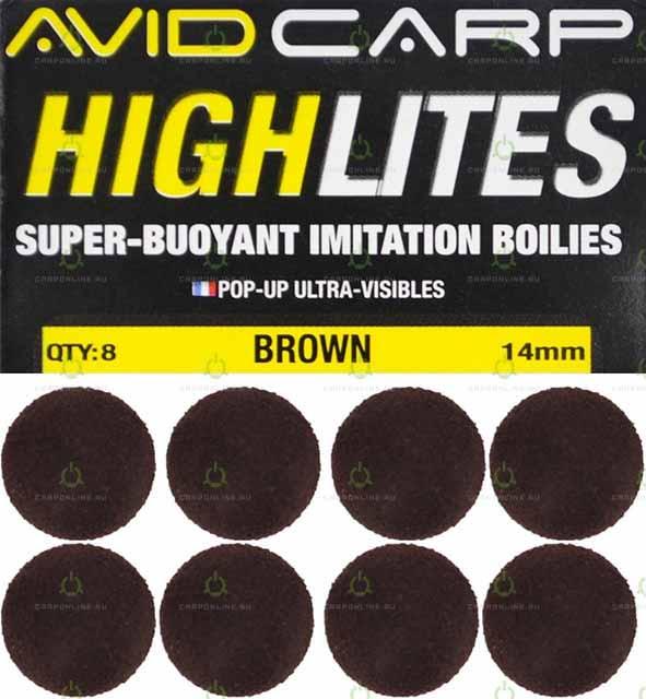 Набор поролоновых шариков Avid Carp High Lites 14mm Brown