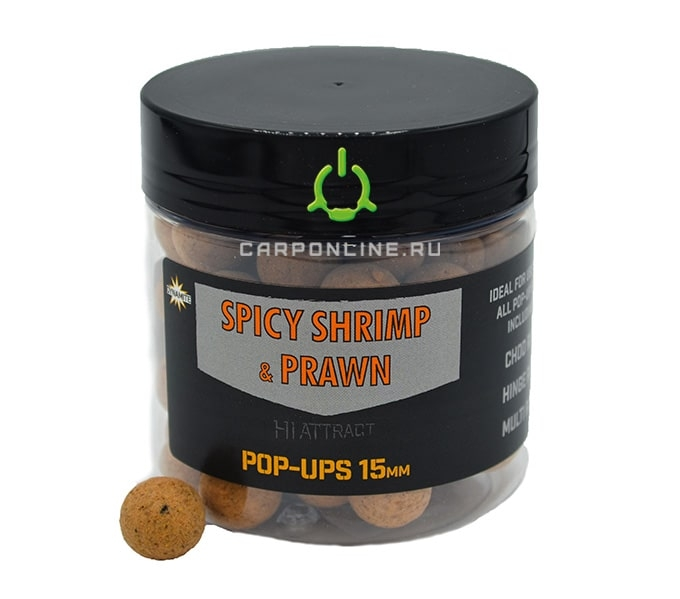 Бойлы плавающие Dynamite Baits Spicy Shrimp & Prawn Foodbait Pop-Ups 15 мм.