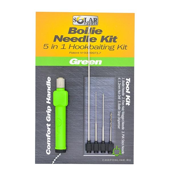 Набор сменных игл в комплекте с ручкой Solar Boilie Needle Plus - 5 Tools In 1 Green