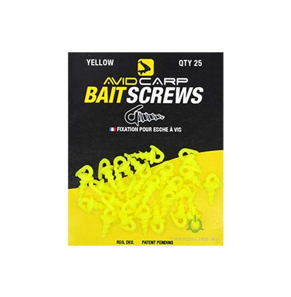 Пластиковый шуруп для насадок Avid Carp Bait Screws Yellow