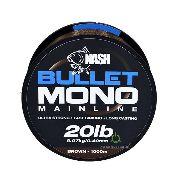 Леска Nash Bullet Mono 20lb Brown