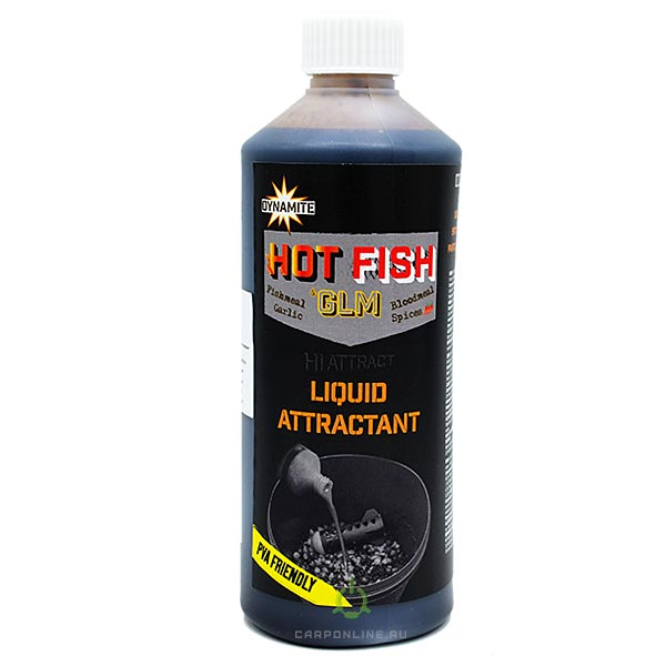 Ликвид Dynamite Baits Hot Fish & GLM Liquid Attractant 500 мл.