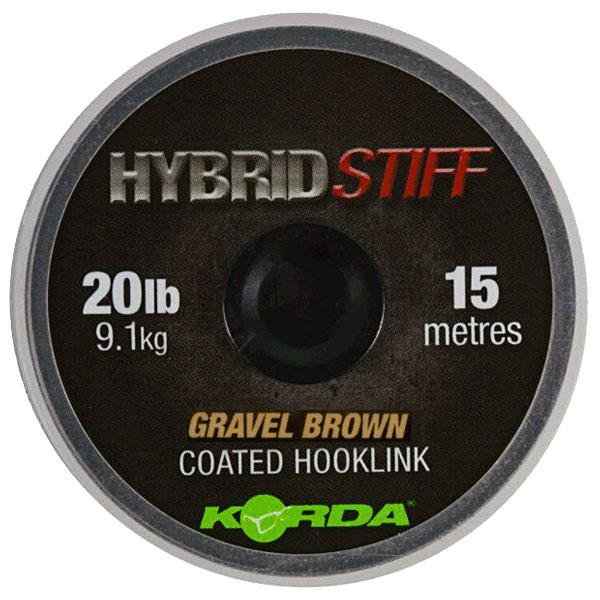 Плетеный шоклидер Korda Hybrid Stiff Gravel brown 20lb - 15м