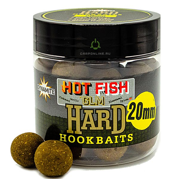 Бойлы Dynamite Baits Hard Hook Baits - Hot Fish & GLM 20 мм.