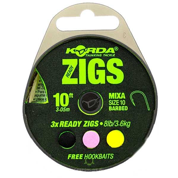 Поводок готовый Korda Ready Zigs 10' 300см №10 3шт