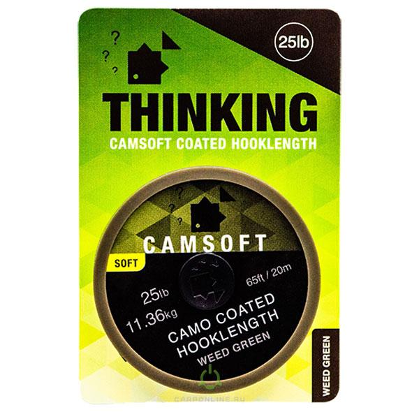 Поводковый материал в оплетке Thinking Anglers Camsoft Hooklength Camo Weed Green 25LB