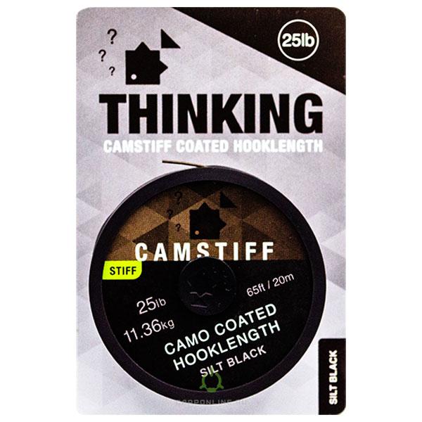 Поводковый материал в оплетке Thinking Anglers Camstiff Hooklength Camo Silt Black 25LB